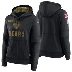 New 2020 Chicago Bears Salute To Service Sideline Women's Hoodie Pullover Nwt