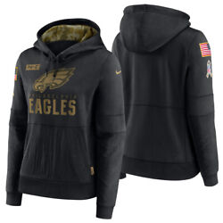 New 2020 Philadelphia Eagles Salute To Service Sideline Women's Hoodie Pullover