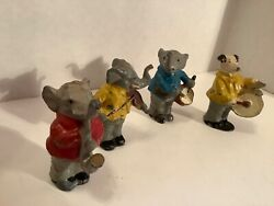 Vintage Collectible Germany Lead 4 Piece Animal Band With Instruments