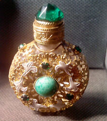Antique Jeweled And Filigree Miniature Perfume Scent Bottle W Glass Stirring Rod