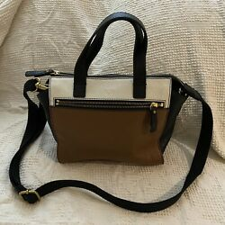 Fossil Black Satchel Brown white Leather Classic Crossbody Shoulder Bag Purse $29.99