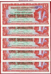 Com Great Britain - British Armed Forces 1 Shilling 1948 - 5 Notes - M18a Unc