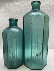 2 Turquoise Cathedral Eight Sided W. Rumford Chemical Works Late 1800s Bottles.