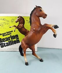 Vtg Traditional BREYER Horse Rearing Stallion REX #185 Bay with Original Box