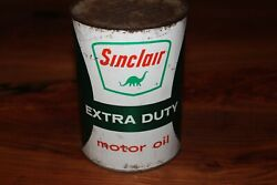 Vintage Sinclair Extra Duty Motor Oil Can Metal - New York Gas Station 1 Quart