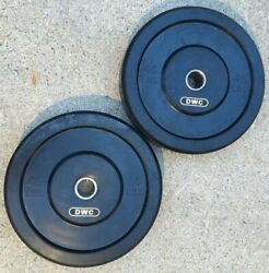 Brand New Dwc Olympic Bumper Plates 45lb Pair - Commercial Quality For Crossfit
