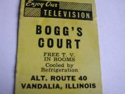 50's Bogg's Court Vandalia Il And Bogg's Deluxe Ct And Rest Greenville Il Matchcover