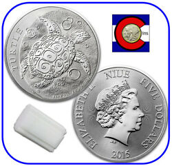 2015 Niue Hawksbill Turtle 2 Oz 5 Silver Coin - Tube/roll 10 Coins