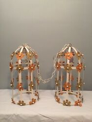 Pair Vintage Mid Century 60's 70's Cage Daisy Flower Hanging Lights Lamps Hippie
