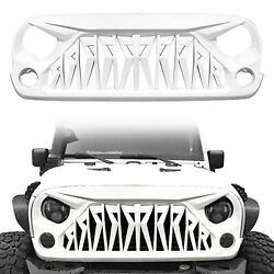 2007-2018 Jeep Wrangler Jk And Jku Unlimited Glossy White Shark Grille Front Grid