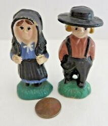Vintage Amish Man and Woman Resin Figurines 2.5quot; Tall #11084