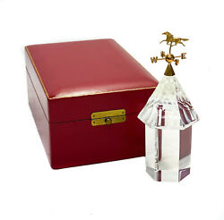 Steuben Crystal Glass 18k Gold Weather Vane Cupola With Horse By James Houston