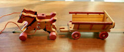 Vintage Wooden 2 Horses And Wagon Pull Toy Made In East Germany
