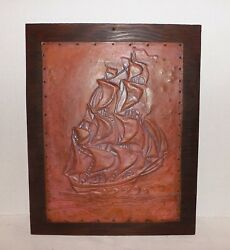 Vintage Hammered Copper Wall Art-ship Sails Sea-nautical Decor-dated 1959
