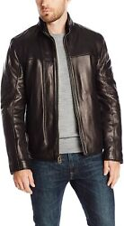 Cole Haan Menand039s Smooth Lamb Leather Jacket With Convertible Collar