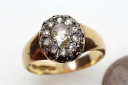 Beautiful Antique English 18k Gold And Silver Rose Cut Diamond Cluster Ring C1830
