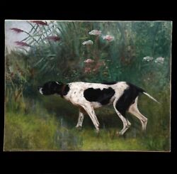 Original French Antique Oil Painting On Canvas Hunting Dog Pointer 20th