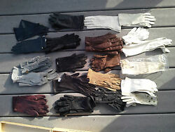 21 Vintage Leather And Cotton Gloves - Italy Bermuda Belgium Beautiful