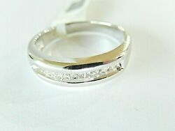 14k White Gold Natural .25ct Round Diamond 6mm Wide Menand039s Wedding Band Ring 9.5