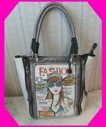 BRIGHTON Tan FASHIONISTA LAGUNA Zip Metallic Silver Bag Tote HANDBAG Preloved $88.79
