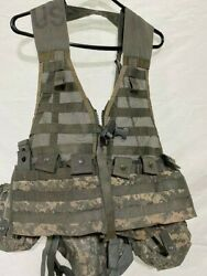 Used Acu Fighting Load Vest W/ Waist Pouch, 2 Canteen Pouches, 2 3 Mag Pouches