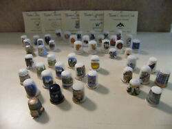 Big Lot Of 48 Misc. Collectible Thimbles - Different Themes, Materials And Origins
