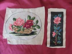 19c. Antique Set Of Two Hand Embroidered Gobelins Tapestries