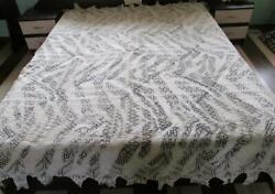 19c. Antique Hand Knitted Crochet Doily Bed Cover
