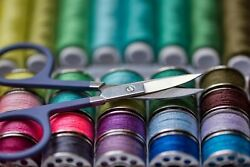 Photographic Print Poster Thread Sewing Accessories Colorful Scissors Sew