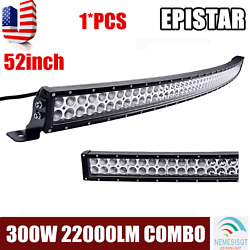 52inch 300w Led Curved Work Light Bar Flood Spot Combo Offroad Suv Atv For Jeep