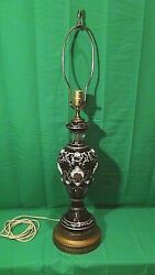 Mid 20c Bohemian Decorated Ruby Art Glass Electrical Lamp W/floral Hand Painting