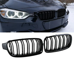 Gloss Black For Bmw F30 F31 12-19 3-series Twin Slat Front Bumper Kindey Grille