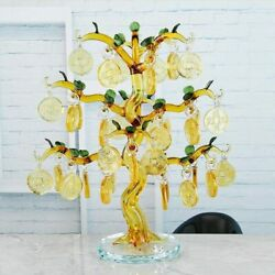 Crystal Glass Ingots Tree With Copper Coin Fengshui Craft Home Decor Figurines