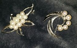 Vintage Japanese Sterling Silver And Pearl Brooches