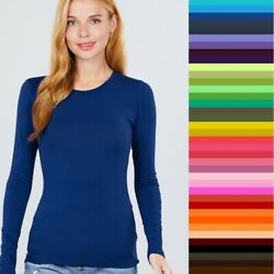Womans T Shirt Crew Long Sleeve Light Weight Active Basic Stretch Top S M L $10.50