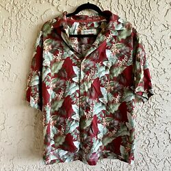 Men#x27;s Tommy Bahama Hawaiian Shirt Button Down Floral Red White Size Large $19.99