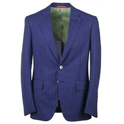 Isaia Slim-fit Royal Blue Striped And039aqua 3-plyand039 Wool Suit 44r Eu 54 Gregorio