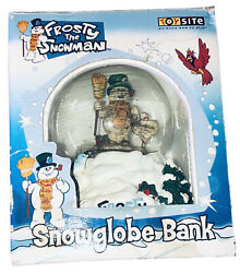 Vintage Frosty The Snowman Christmas Snow Globe Bank Ceramic And Glass With Box