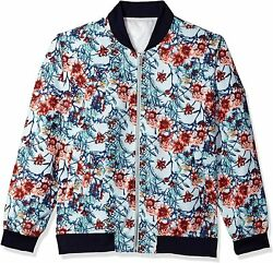 Stacy Adams Mens Big And Tall Light Blue Floral Baseball Jacket