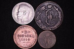 Russian Mixed Lot 4 Coins 1763-1899