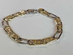 14k Italy Gold Thick 8mm Chain Bracelet Chain Menand039s