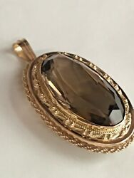 14k Yellow Gold And Huge Smokey Topaz Necklace Chain Pendant / Brooch Pin