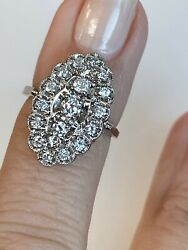 14k White Gold And Diamond 0.75ct Antique Style Ladies / Womens Unique Ring