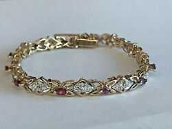 14k Solid Yellow Gold Genuine Ruby And Diamond Women's Butterfly Tennis Bracelet
