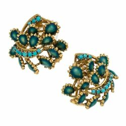 Antique Victorian 18k Yellow Gold Earrings With Turquoise And Blue/green Enamel