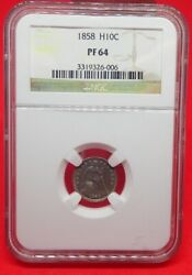1858 Liberty Seated Half Dime Proof Pf64. Only 100 Were Minted
