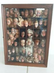 Framed Window Shadow Box With Vintage Doll Head Lot Barbie Cher Farrah Dusty