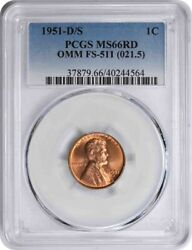 1951-d/s Lincoln Cent Omm Fs-511 Ms66rd Pcgs