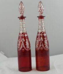 Pair 2 19th Century Boston Sandwich Glass Ruby Red Overlay Wine Decanters 16