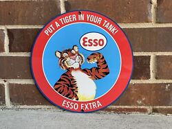Esso Put Tiger In Tank Gasoline Oil Gas Vintage Style Round Sign Reproduction